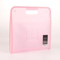 KOBEST 康百 F9044 简约手提多层文件夹 A4 13格 粉色