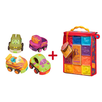 B.Toys 比乐 BX1002Z 捏捏乐数字浮雕软积木+回力车
