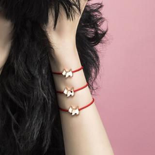 AGATHA 瑷嘉莎 925银本命年情侣女士手绳幸运小狗红绳手链玫瑰金色