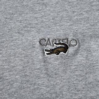 CARTELO 16057KE9518 男士纯色圆领长袖T恤 紫色 L