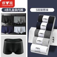 雅鹿 男士内裤4条装+5双棉袜
