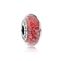PANDORA 潘多拉 791654 红色闪烁琉璃 串珠 *2件
