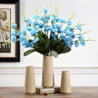 Hoatai Ceramic 华达泰陶瓷 拉丝花瓶摆件花艺套装 直筒花瓶大号+2束蓝色水仙花