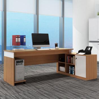 京东PLUS会员:美宜德曼 老板桌职员办公桌 橡木色 1.6米L型