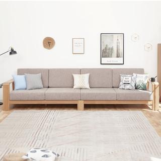 维莎 w0489-1 日式纯实木沙发 大三人位 三色可选