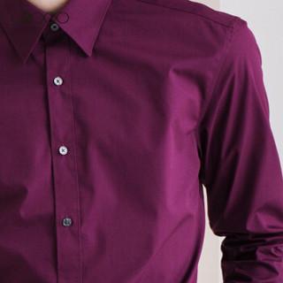 G2000 00040101 男士修身纯色休闲衬衫 深红色 03/165