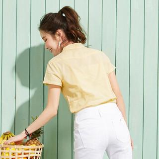 Semir 森马 13216040028 女士短袖衬衫 黄白色 S