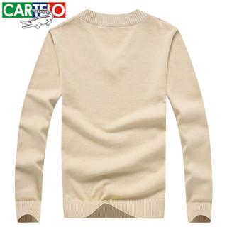 CARTELO 16018KE12291 男士修身V领套头针织衫 杏色 L