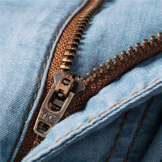 Markless NZA6007M 男士亚麻长牛仔裤 深牛仔蓝 30