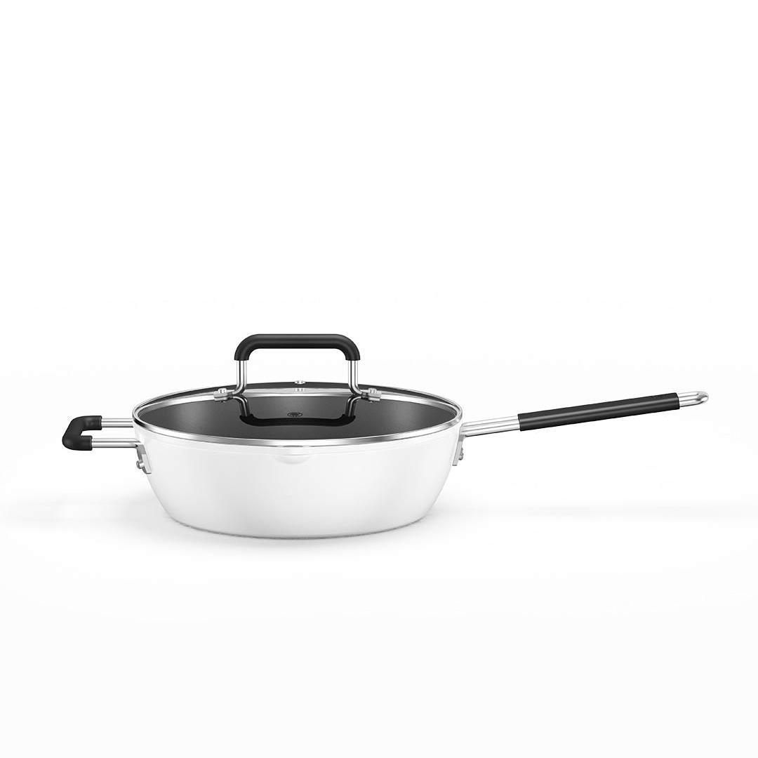 知吾煮 GJCO3CM 炒锅(26cm、不粘、有涂层、铝合金、白色)