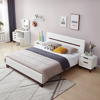 QuanU 全友 121802 卧室成套家具 1.8m床 床头柜 床垫