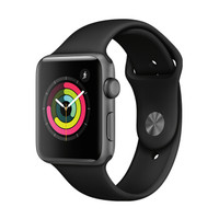 Apple 苹果 Watch Series 3 智能手表 38mm GPS版 深空灰色铝金属表壳 黑色运动型表带(GPS)