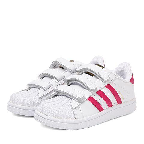 adidas Originals SUPERSTAR CF I 女童三叶草休闲运动鞋 BZ0420 亮白/荧光玫红/亮白 23.5