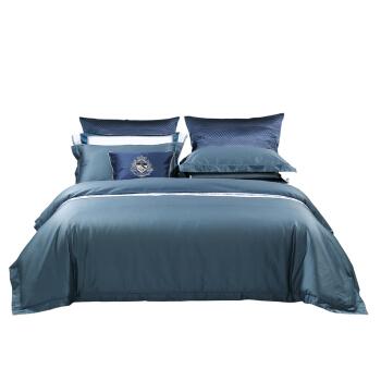 MERCURY 水星家纺 长绒棉汞缎甄贵四件套 1.8m床 蓝色