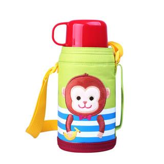 乐扣乐扣(LOCK&LOCK)保温杯儿童带吸管水杯不锈钢杯子宝宝便携水壶550ml 小猴子图案LHC1435MKY *3件