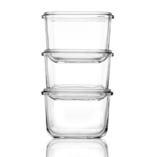 Glasslock 三光云彩 婴儿辅食盒三件套 方形 210ml*3只