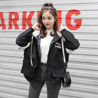 JOY OF JOY 2020春装韩版休闲原宿风ins超火的宽松短外套女棒球服夹克上衣 JWWT187331 黑色 S *4件