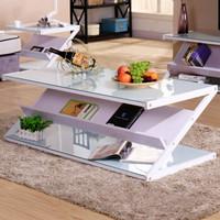 雅美乐 YZCJWW4 现代简约Z型钢化玻璃茶几桌 白架 120*60cm