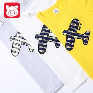 PEPCO 小猪班纳 男童条纹飞机短袖t恤