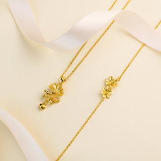 六福珠宝 GMGTBN0009 栀子花足金项链