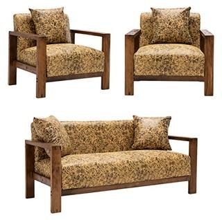 择木宜居 FXSC3059 实木皮艺金纹沙发组合 单人位*2 + 双人位*1