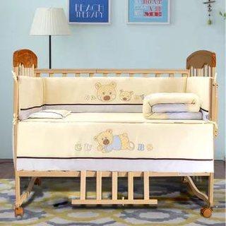 木巴 实木双层婴儿床