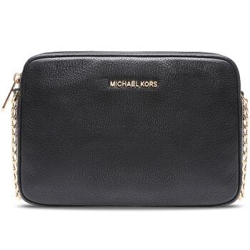 MICHAEL KORS 迈克·科尔斯 MK女包 BEDFORD系列黑色牛皮金属链条单肩斜挎包 黑色