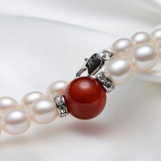 京润珍珠 静心 淡水珍珠项链 配玛瑙 40cm 7-8mm 配红玛瑙