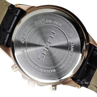 CASIO 卡西欧  SHEEN系列 SHE-5026GL-7B 女士石英表 三盘六针 时尚皮表带