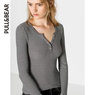 PULL&BEAR 09239337 女士系扣领T恤