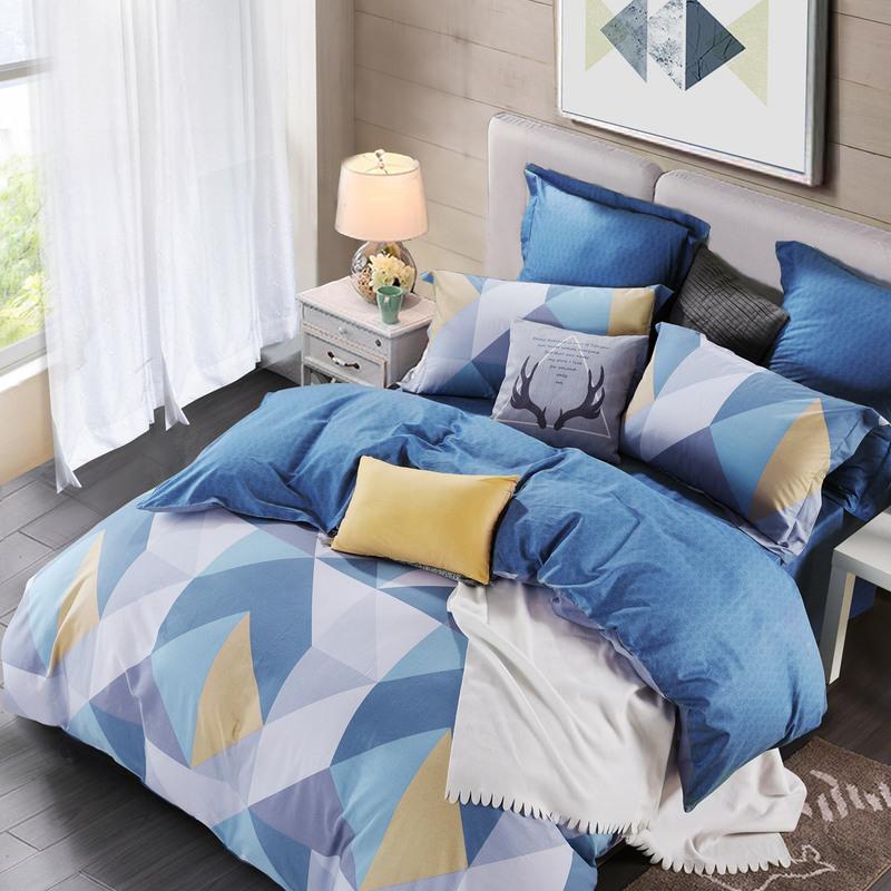MERCURY 水星家纺 英伦格纹系列 全棉斜纹印花四件套 蓝语迷情 1.8m床