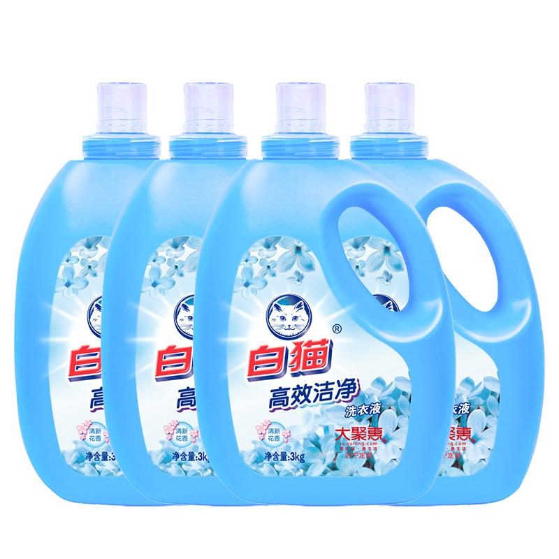 高效洁净洗衣液 3kg*4瓶 清新花香