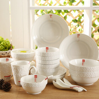 顺祥 22头白瓷浮雕餐具套装