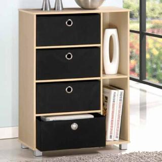 慧乐家 六格多功能带抽收纳柜 简约时尚储物柜 斗柜 木纹色 11159