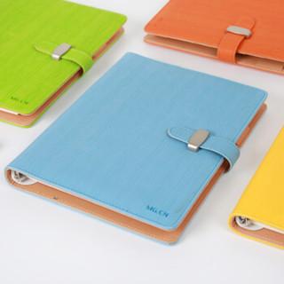 晨光(M&G)A5/80页蓝色皮面活页本插扣皮革本商务记事笔记本子 单本装APYG4811