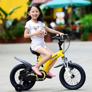 优贝(RoyalBaby)儿童自行车 单车男女小孩童车 避震型宝宝脚踏车山地车3岁-9岁 小飞熊14寸 黄色