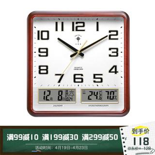 北极星 挂钟14英寸万年历温湿度计静音创意客厅日历挂表钟表 2858 木双液晶