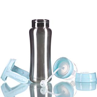 ABQ 艾贝琪  A9290 不锈钢宽口带柄自动保温奶瓶 蓝色 240ml