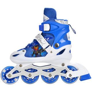 铠甲勇士 儿童套装溜冰鞋 男女款轮滑鞋 闪光轮旱冰鞋 M号 蓝色 KJ-335/337 赠护具头盔