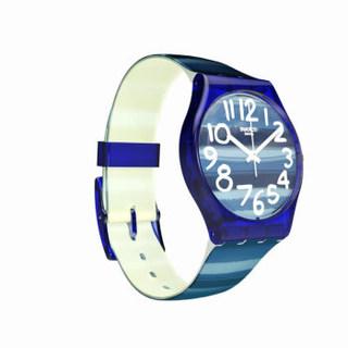 swatch 斯沃琪 色彩密码系列 GN237 中性时装石英腕表 防水 蓝盘