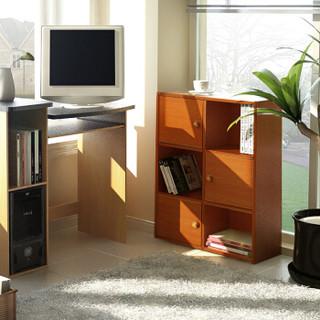 慧乐家 书柜书架 六格带门储物柜 简易收纳展示柜 樱桃木色 11189-1