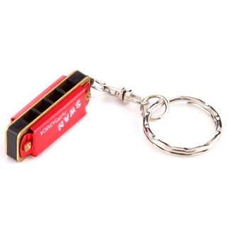SWAN 天鹅 口琴 4孔8音迷你钥匙扣口琴(红色)