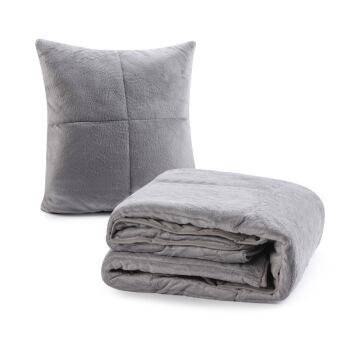 SNOWMAN 斯诺曼 抱枕被子两用靠垫 烟灰色 110*140cm