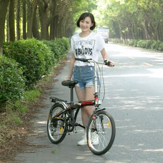 永久自行车 20寸7速高碳钢弓背车架 时尚休闲折叠车 男女式通勤车QJ009 学生变速单车 白红色