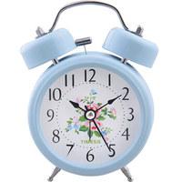 Timess闹钟 静音时尚学生卧室床头钟个性创意夜光灯打铃钟可爱卡通儿童石英钟PT-818蓝色