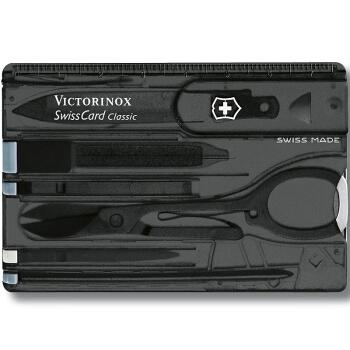 VICTORINOX 维氏 0.7133.T3 经典瑞士军刀卡 10项功能 黑色透面