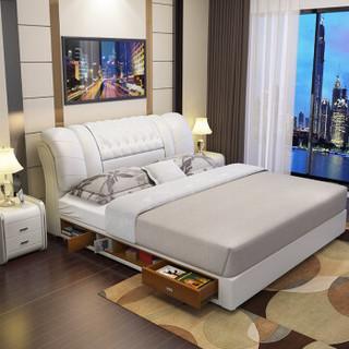 中派  床卧室皮床双人头层牛皮真皮软床 1.8*2.0高箱床+床垫+床头柜1个