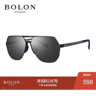 BOLON暴龙2020新款太阳镜飞行员框墨镜不规则潮开车眼镜男BL8070 D11-暗黑色