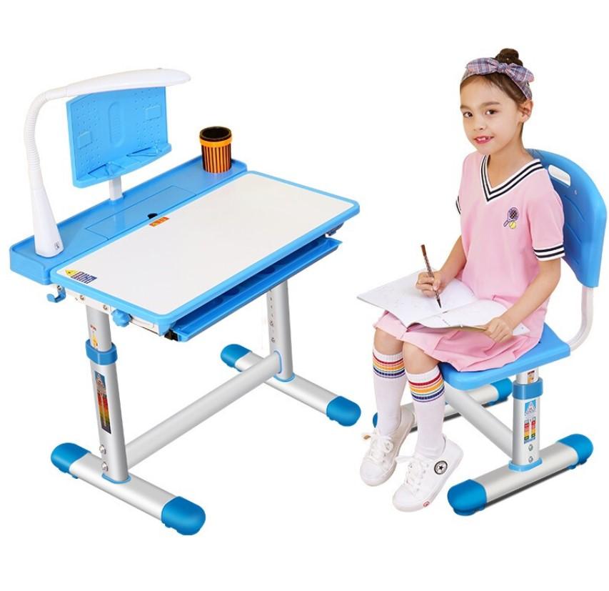 鑫嘉慕 儿童可升降学习桌椅套装 蓝色 *2件