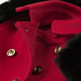 HAZZYS 哈吉斯 HMW11CC59MRD 女童毛呢大衣 酒红色 110cm
